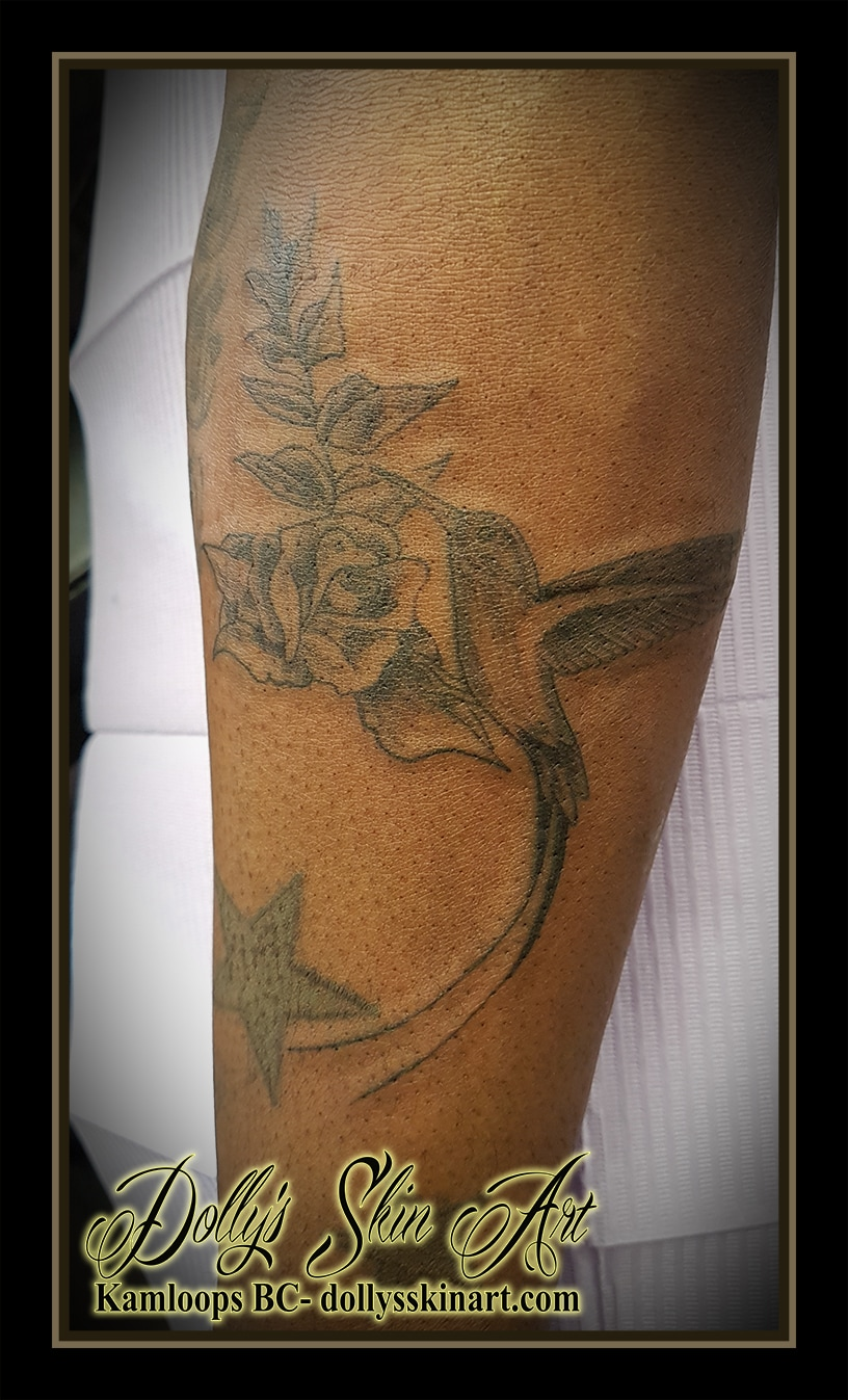 doctor bird jamaica rose black and grey shaded arm tattoo kamloops dolly's skin art