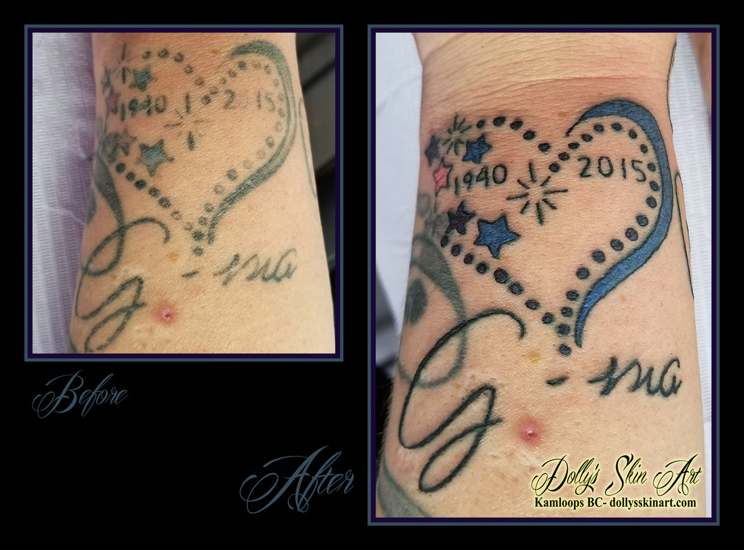 heart memorial tattoo refresh rejuvenated dates 1940 2015 stars Gma blue purple pink black wrist tattoo kamloops dolly's skin art
