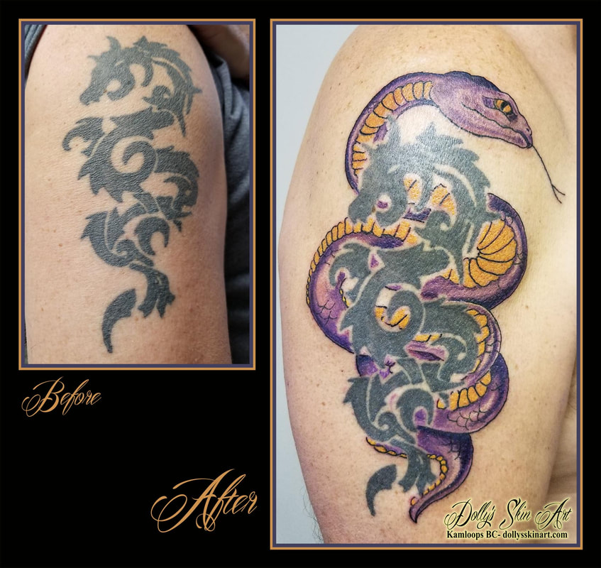 snake tattoo colour purple yellow bicep tribal dragon shoulder tattoo kamloops tattoo dolly's skin art