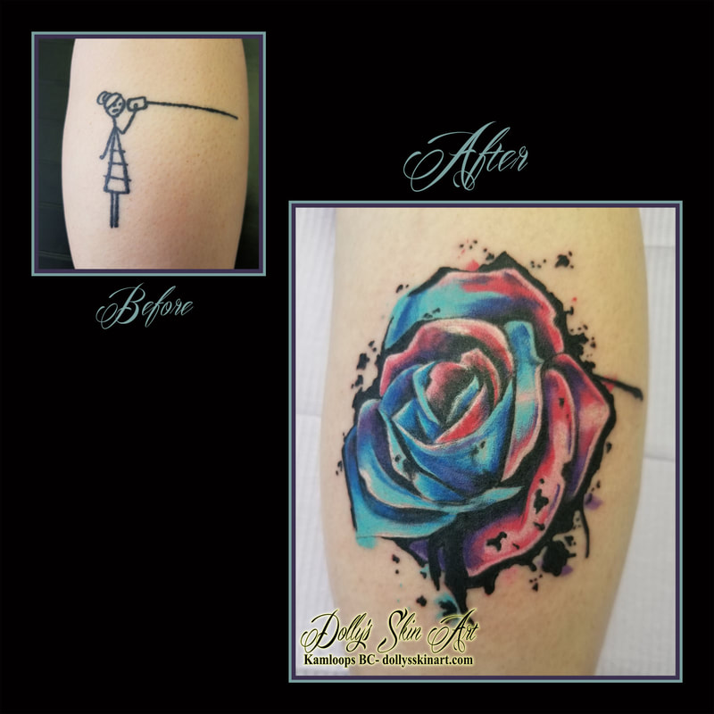 water colour rose cover up leg blue purple pink black white watercolor tattoo kamloops dolly's skin art