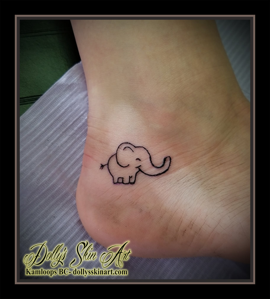 elephant small outline tiny heel simple happy ele tattoo kamloops dolly's skin art
