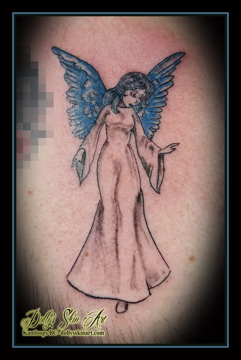 angel tattoo traditional black and grey blue small tattoo kamloops dolly's skin art