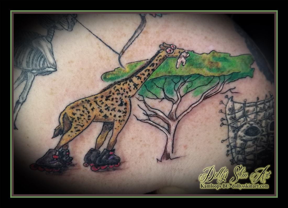rabid giraffe tattoo roller blades skates foaming red eye tree colour green yellow white brown pink purple black tattoo kamloops dolly's skin art