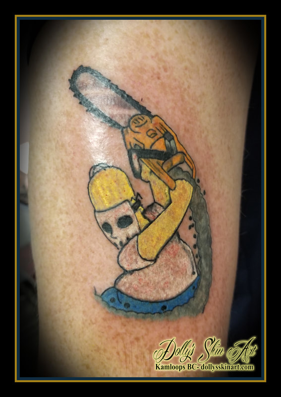 homer simpson chain saw hockey mask animated the simpsons sideshow bob colour arm tattoo kamloops tattoo dolly's skin art