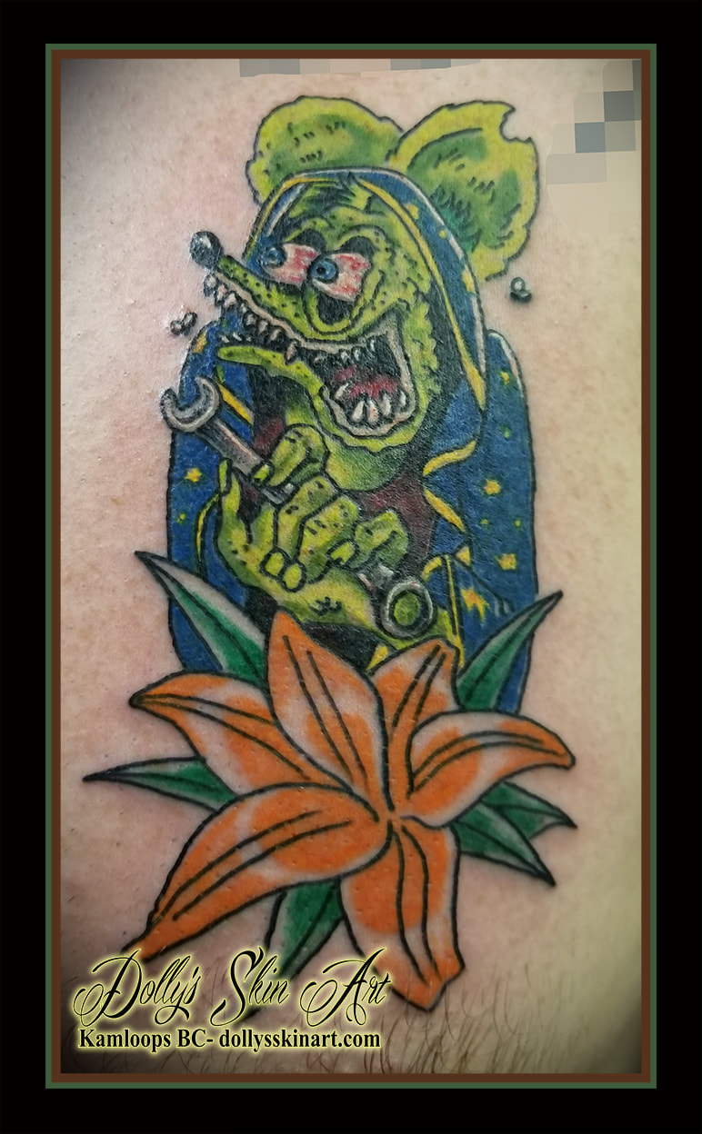 rat fink tattoo Ed Roth colour flower green blue yellow grey wrench orange red white tattoo kamloops dolly's skin art